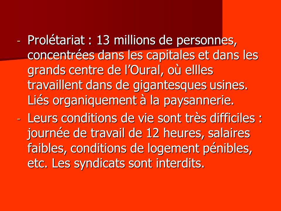 Prolétariat : 13 millions de personnes, concentrées dans les capitales et dans les grands centre de l'Oural, où ellles travaillent dans de gigantesques usines. Liés organiquement à la paysannerie.