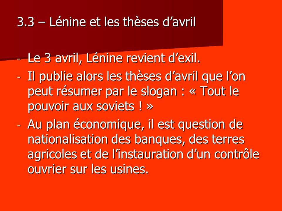 3.3 – Lénine et les thèses d'avril
