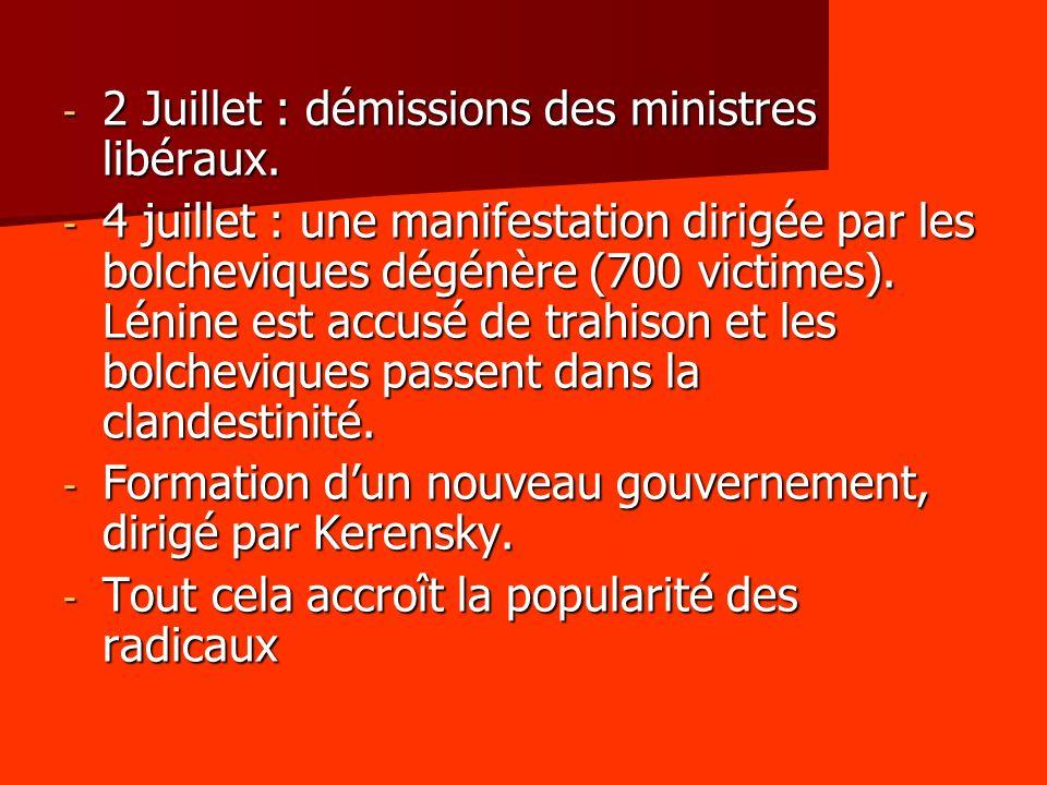 2 Juillet : démissions des ministres libéraux.