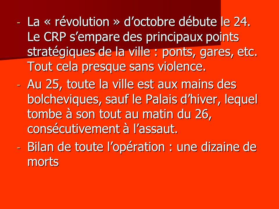 La « révolution » d'octobre débute le 24