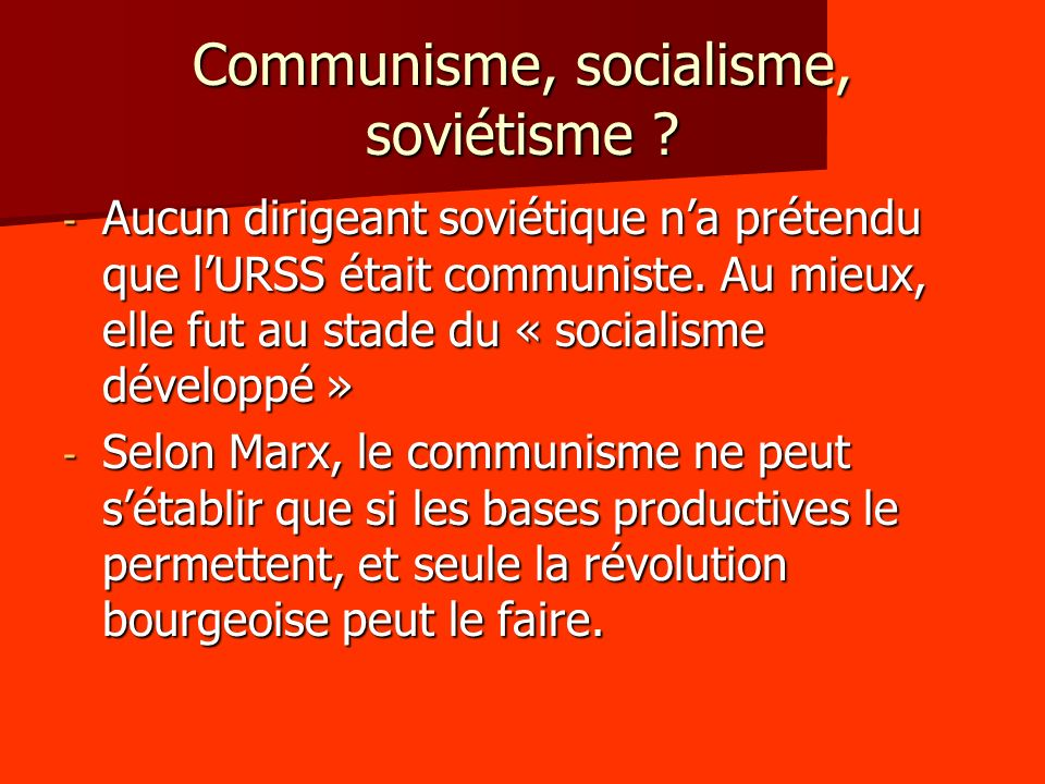 Communisme, socialisme, soviétisme