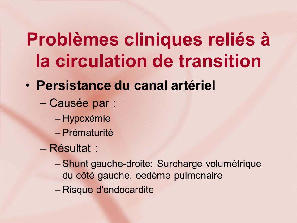 Problèmes cliniques reliés à la circulation de transition