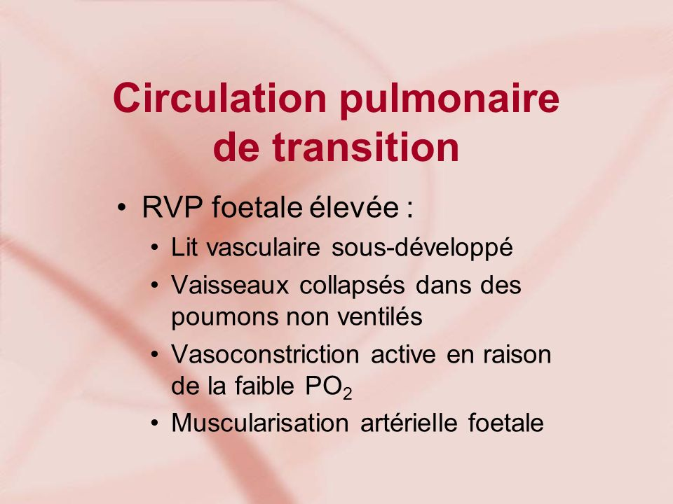 Circulation pulmonaire de transition
