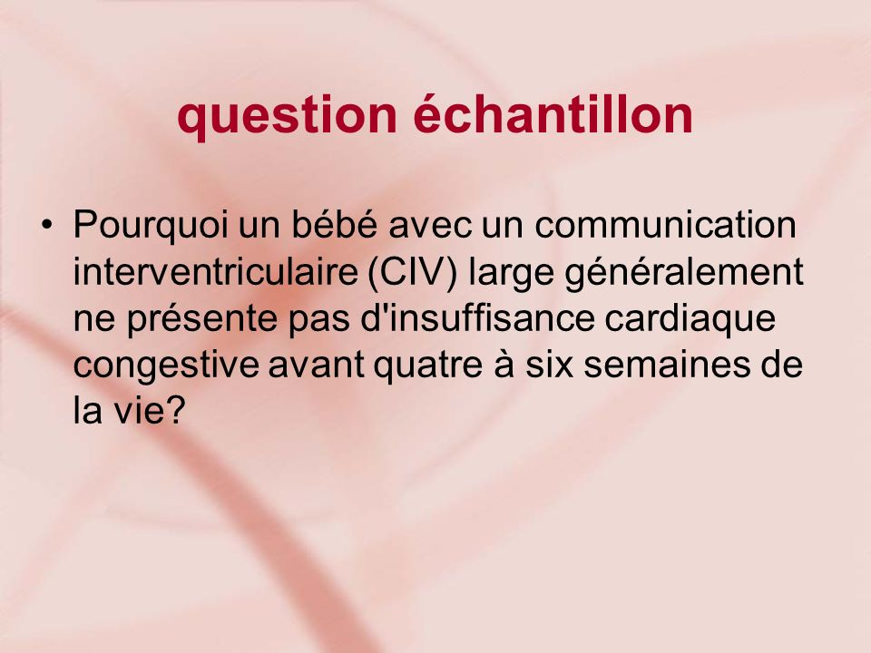 question échantillon