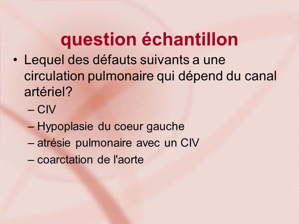 question échantillon Lequel des défauts suivants a une circulation pulmonaire qui dépend du canal artériel