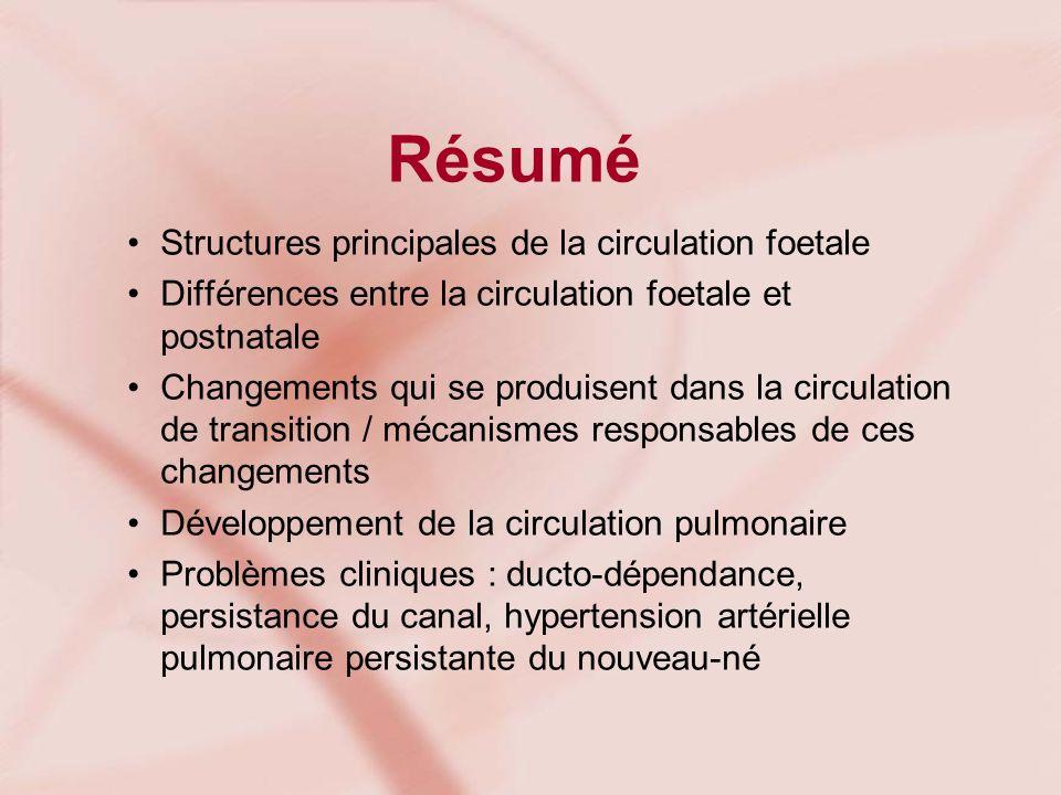 Résumé Structures principales de la circulation foetale