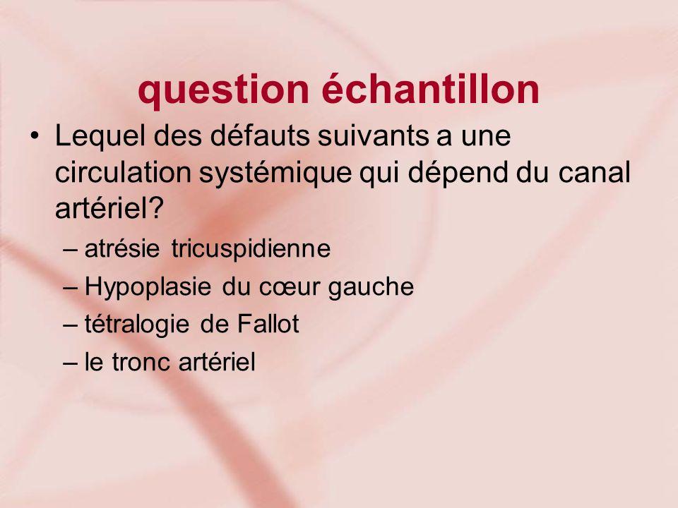 question échantillon Lequel des défauts suivants a une circulation systémique qui dépend du canal artériel