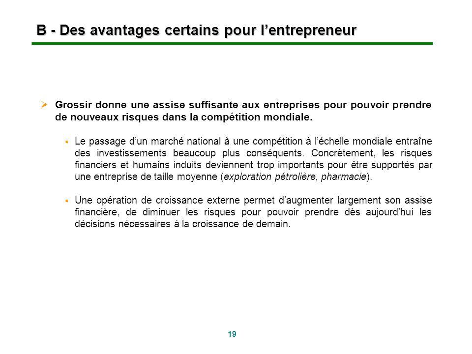 B - Des avantages certains pour l'entrepreneur