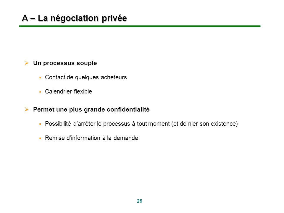 A – La négociation privée
