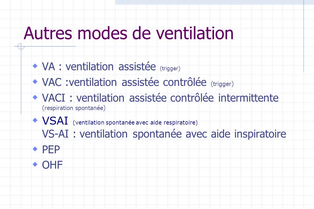 Autres modes de ventilation