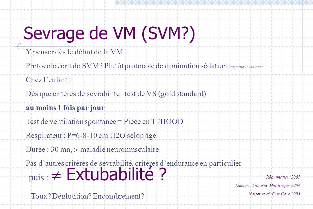Sevrage de VM (SVM ) puis :  Extubabilité