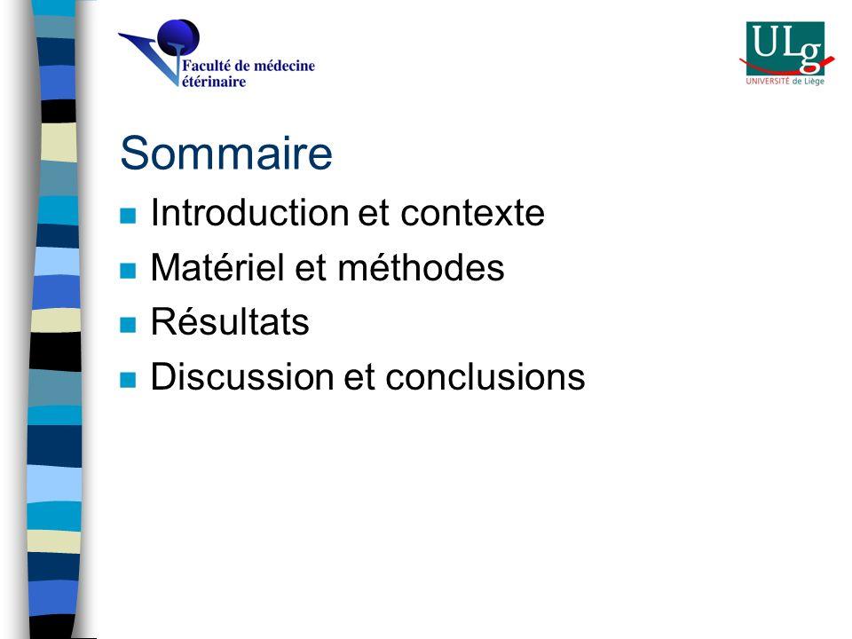 Sommaire Introduction et contexte Matériel et méthodes Résultats