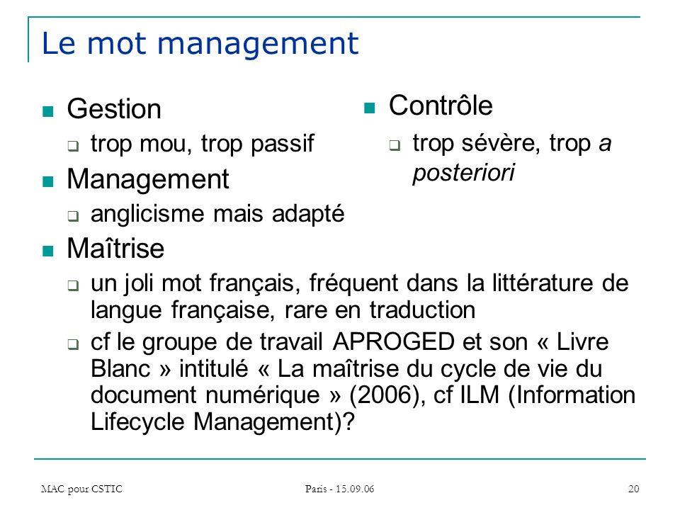Le mot management Contrôle Gestion Management Maîtrise