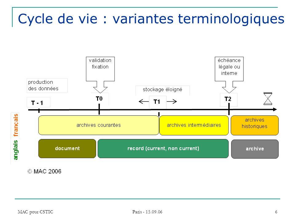 Cycle de vie : variantes terminologiques