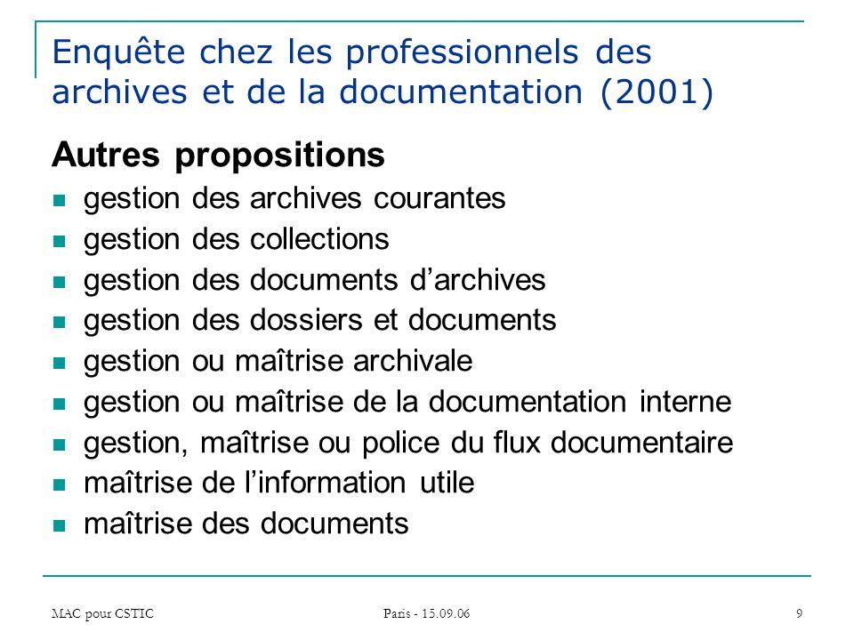 Enquête chez les professionnels des archives et de la documentation (2001)
