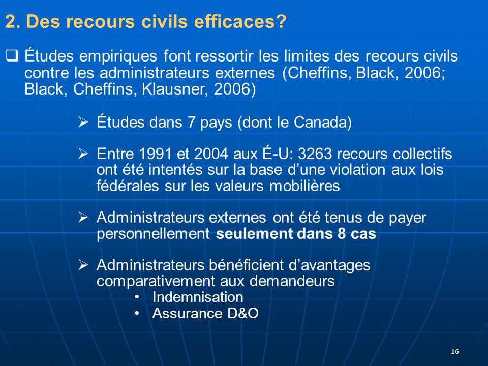 2. Des recours civils efficaces