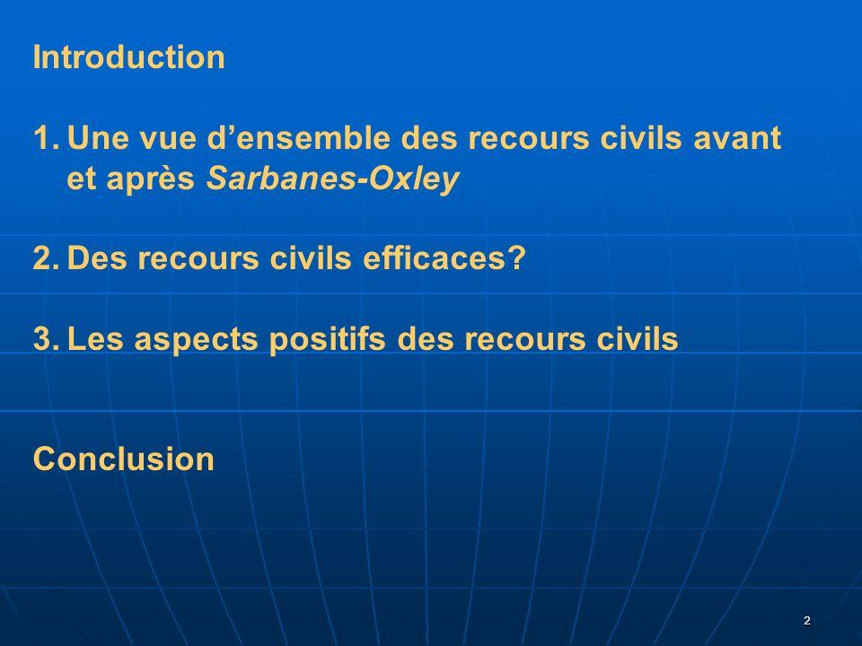 Introduction Une vue d'ensemble des recours civils avant et après Sarbanes-Oxley. Des recours civils efficaces