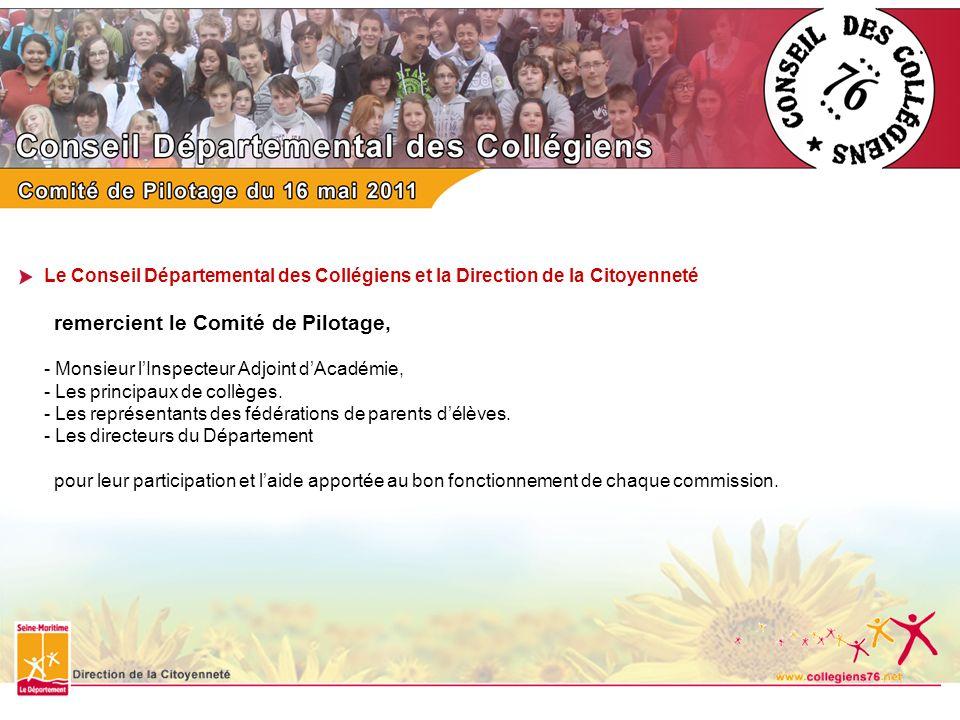 Le Conseil Départemental des Collégiens et la Direction de la Citoyenneté