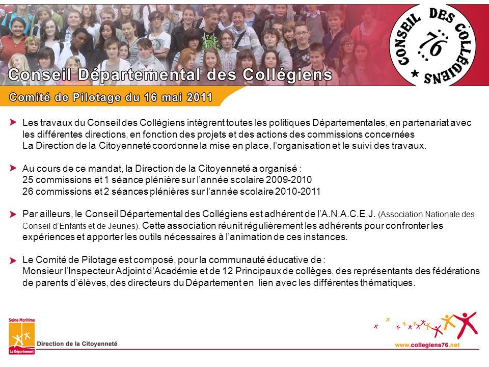 Les travaux du Conseil des Collégiens intègrent toutes les politiques Départementales, en partenariat avec les différentes directions, en fonction des projets et des actions des commissions concernées