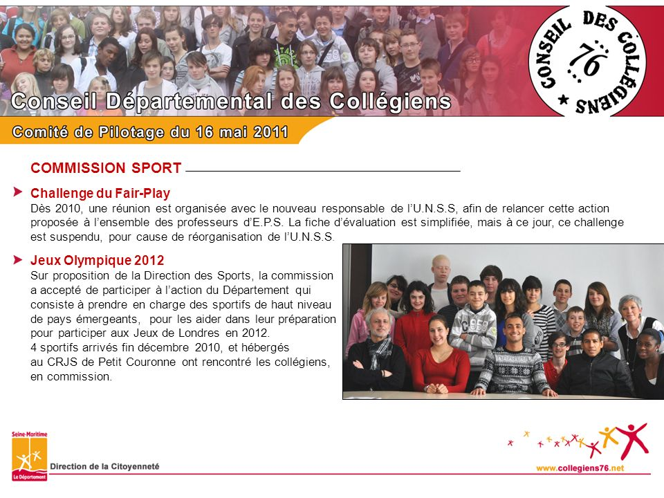 COMMISSION SPORT Challenge du Fair-Play Jeux Olympique 2012