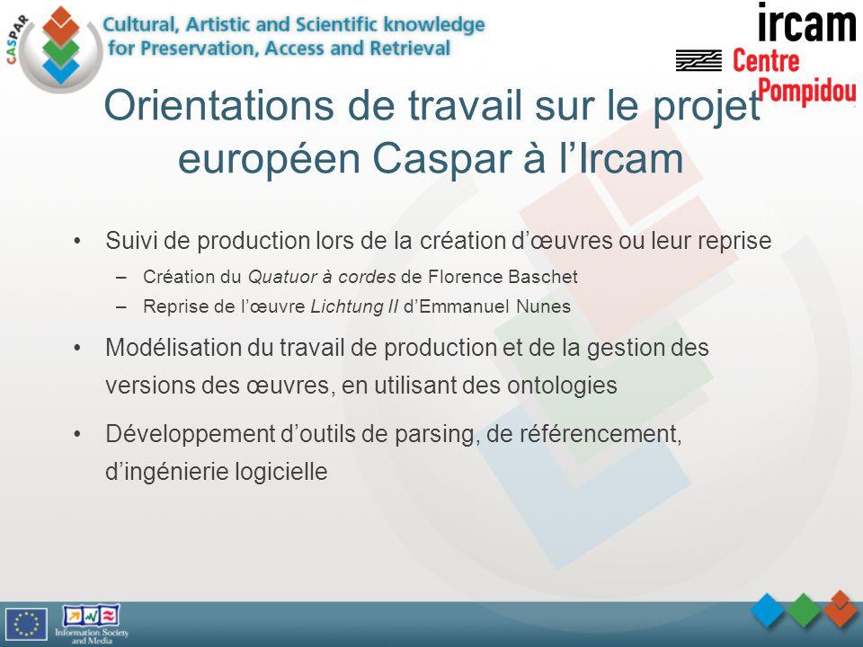 Orientations de travail sur le projet européen Caspar à l'Ircam