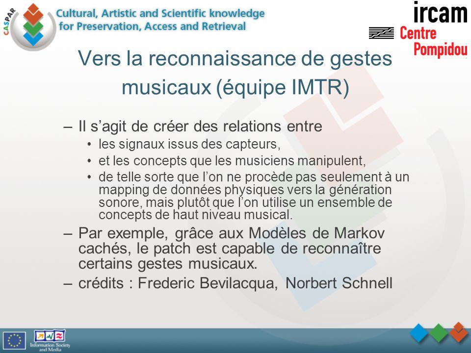 Vers la reconnaissance de gestes musicaux (équipe IMTR)