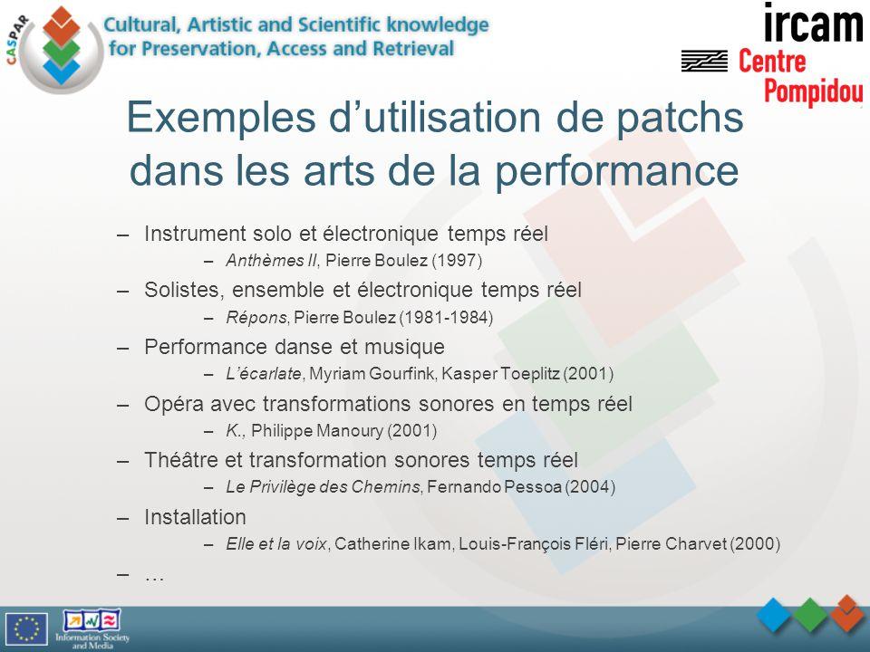 Exemples d'utilisation de patchs dans les arts de la performance