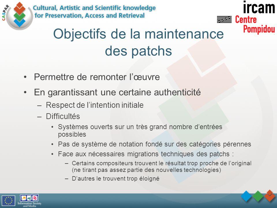 Objectifs de la maintenance des patchs