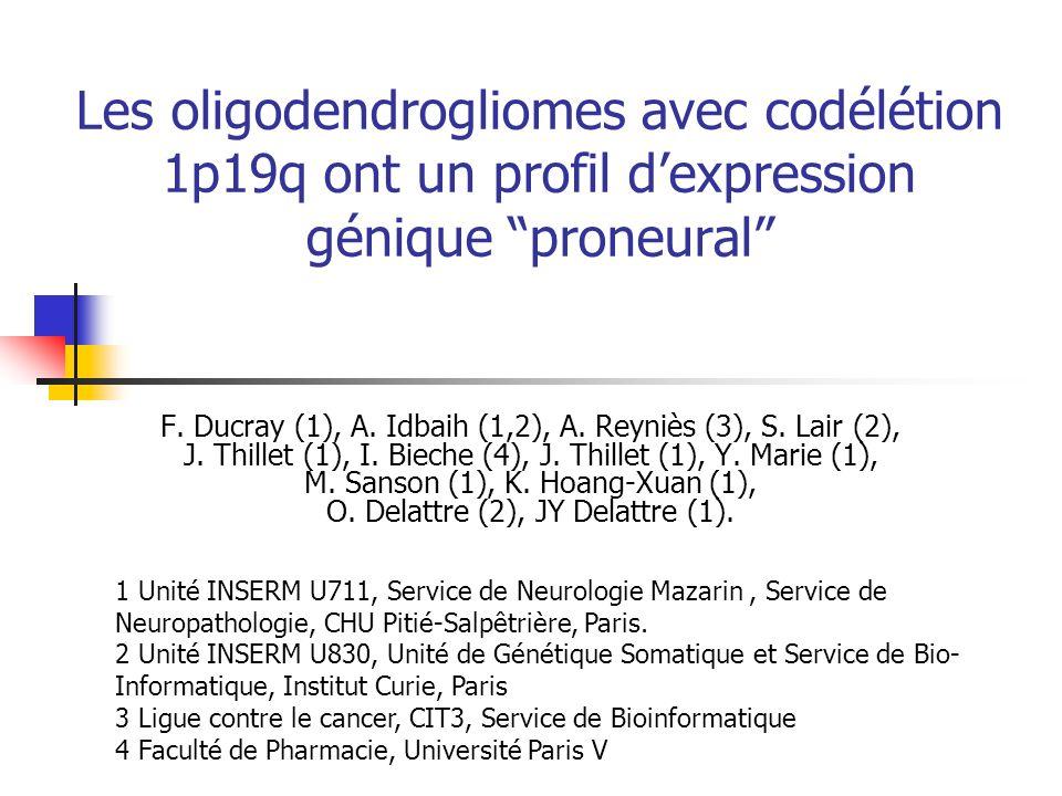Les oligodendrogliomes avec codélétion 1p19q ont un profil d'expression génique proneural
