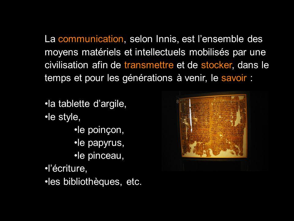 La communication, selon Innis, est l'ensemble des
