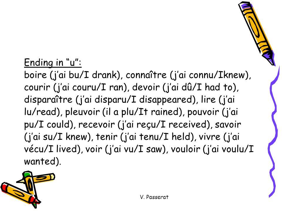 boire (j'ai bu/I drank), connaître (j'ai connu/Iknew),