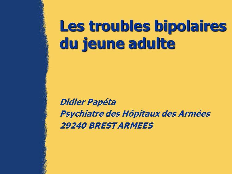 Les troubles bipolaires du jeune adulte