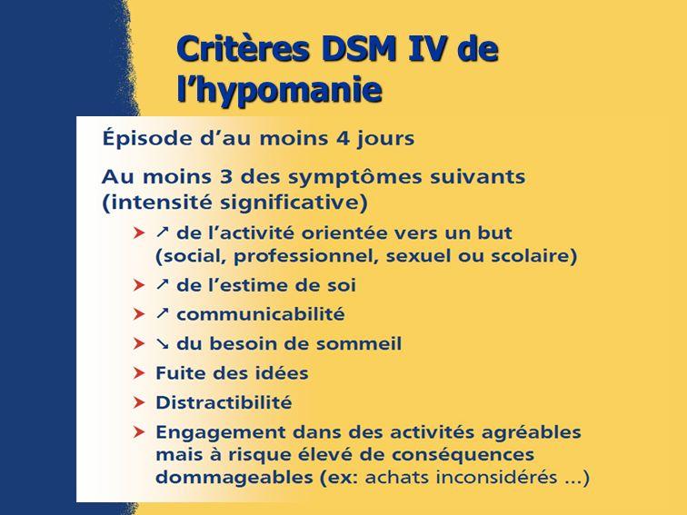 Critères DSM IV de l'hypomanie