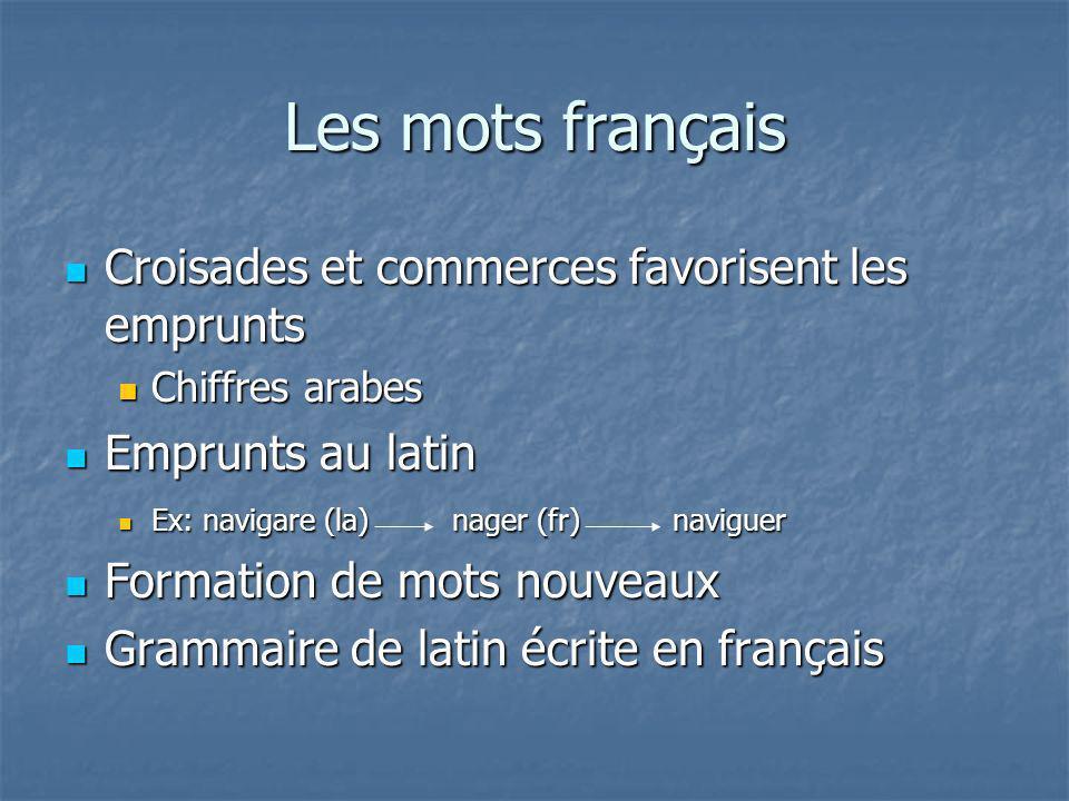 Les mots français Croisades et commerces favorisent les emprunts