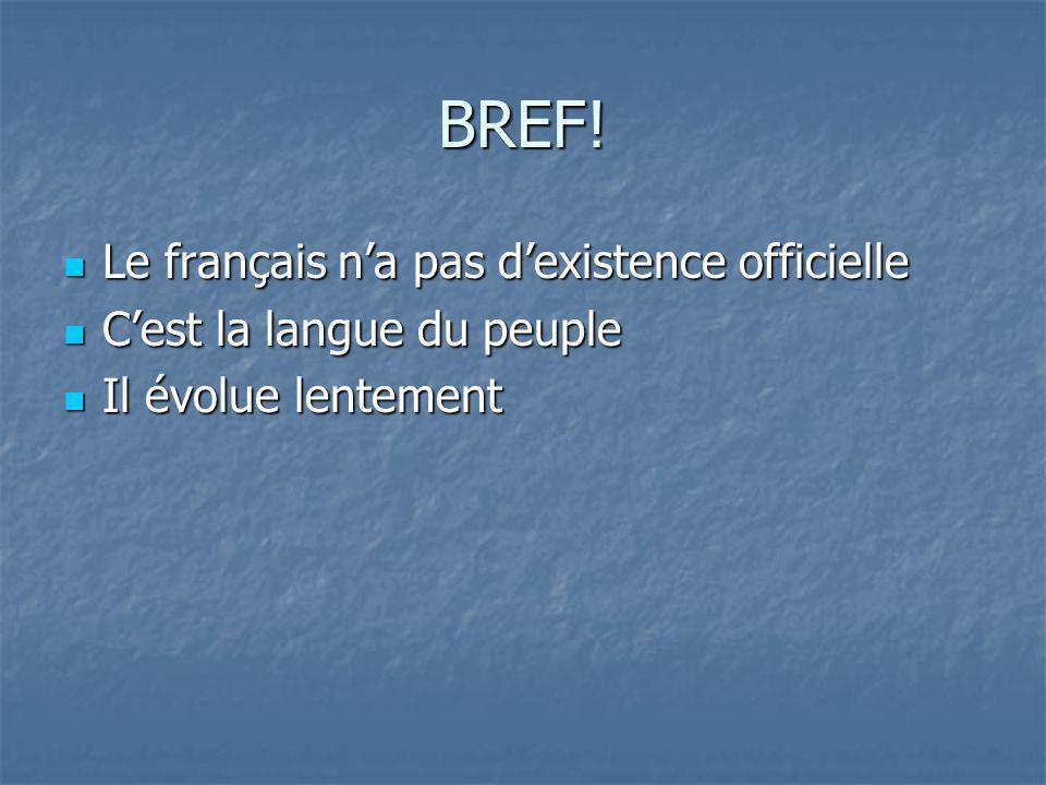 BREF! Le français n'a pas d'existence officielle