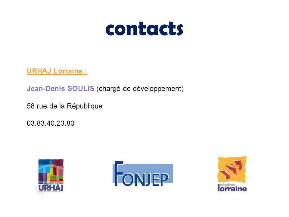 contacts URHAJ Lorraine : Jean-Denis SOULIS (chargé de développement)