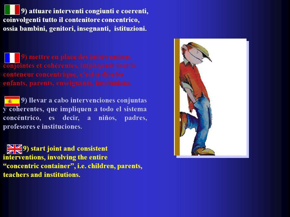 9) attuare interventi congiunti e coerenti, coinvolgenti tutto il contenitore concentrico, ossia bambini, genitori, insegnanti, istituzioni.