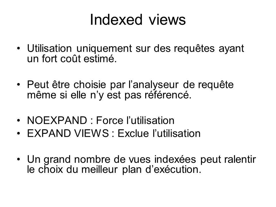 Indexed views Utilisation uniquement sur des requêtes ayant un fort coût estimé.