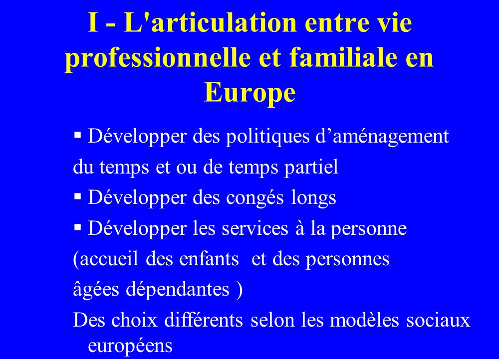 I - L articulation entre vie professionnelle et familiale en Europe