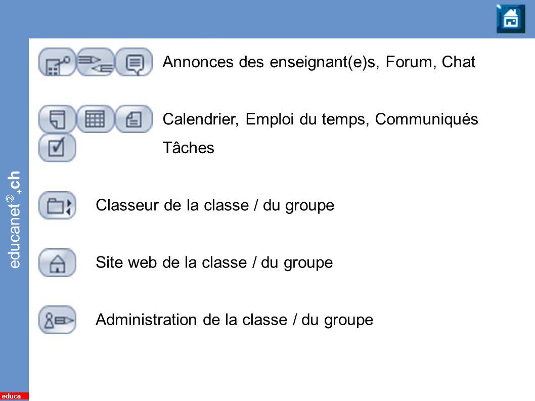 Classe / Groupe Annonces des enseignant(e)s, Forum, Chat