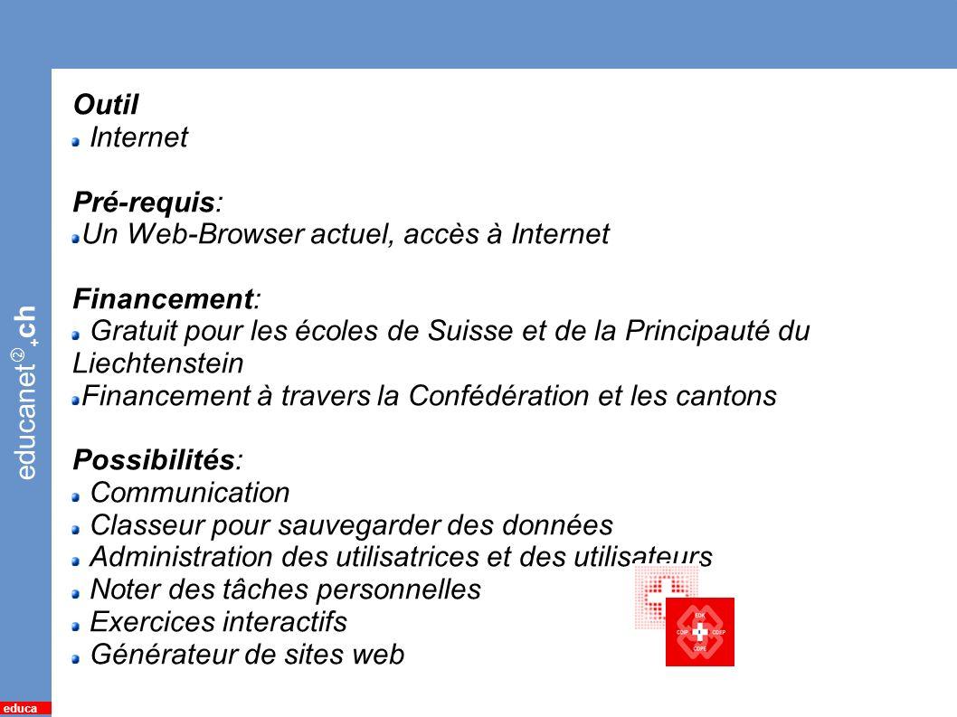 educanet Outil Internet Pré-requis: