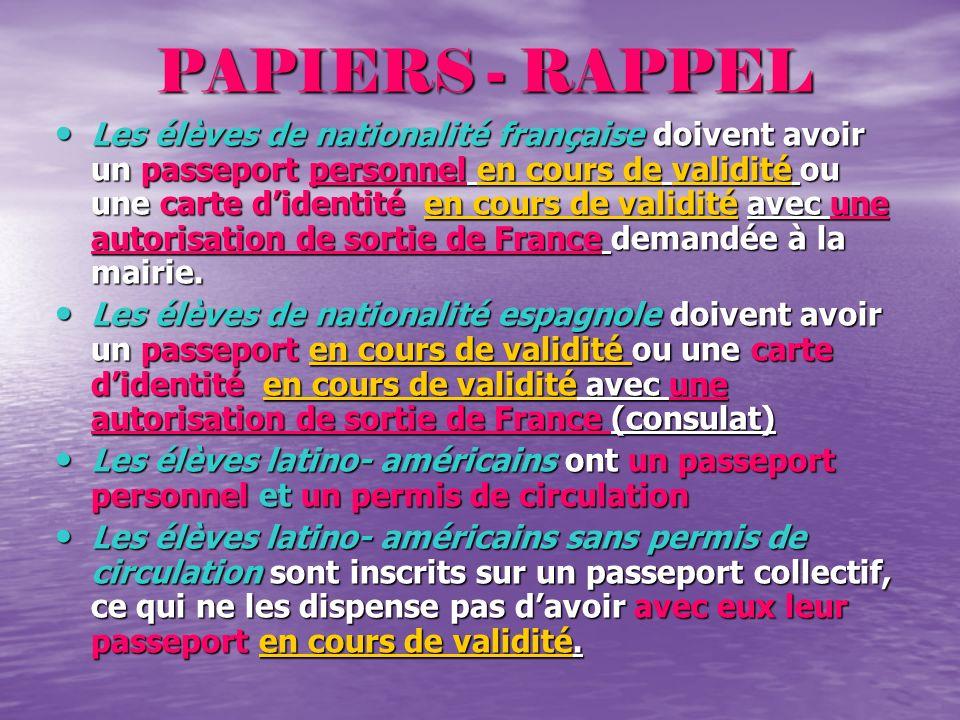 PAPIERS - RAPPEL