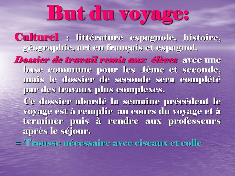 But du voyage:Culturel : littérature espagnole, histoire, géographie, art en français et espagnol.