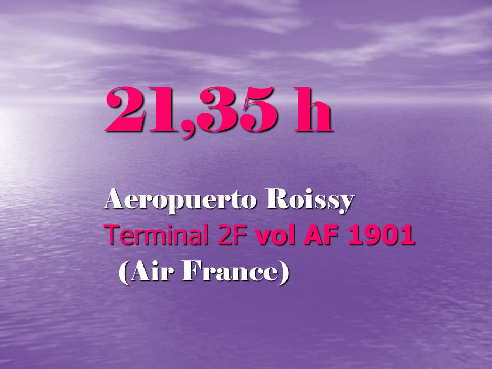 21,35 h Aeropuerto Roissy Terminal 2F vol AF 1901 (Air France)
