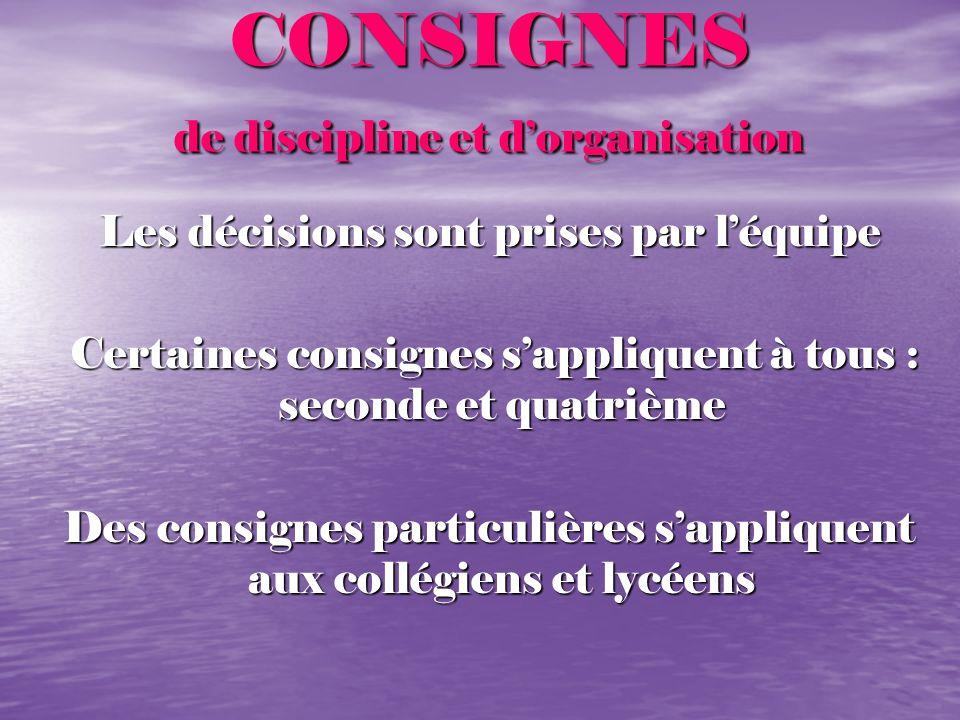 CONSIGNES de discipline et d'organisation