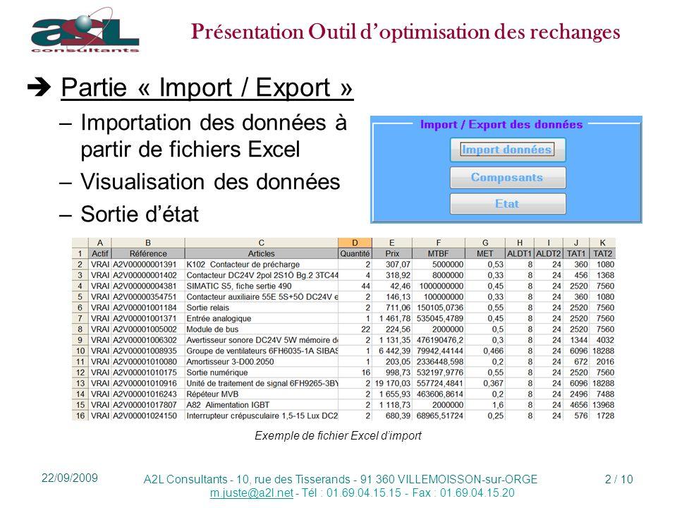  Partie « Import / Export »