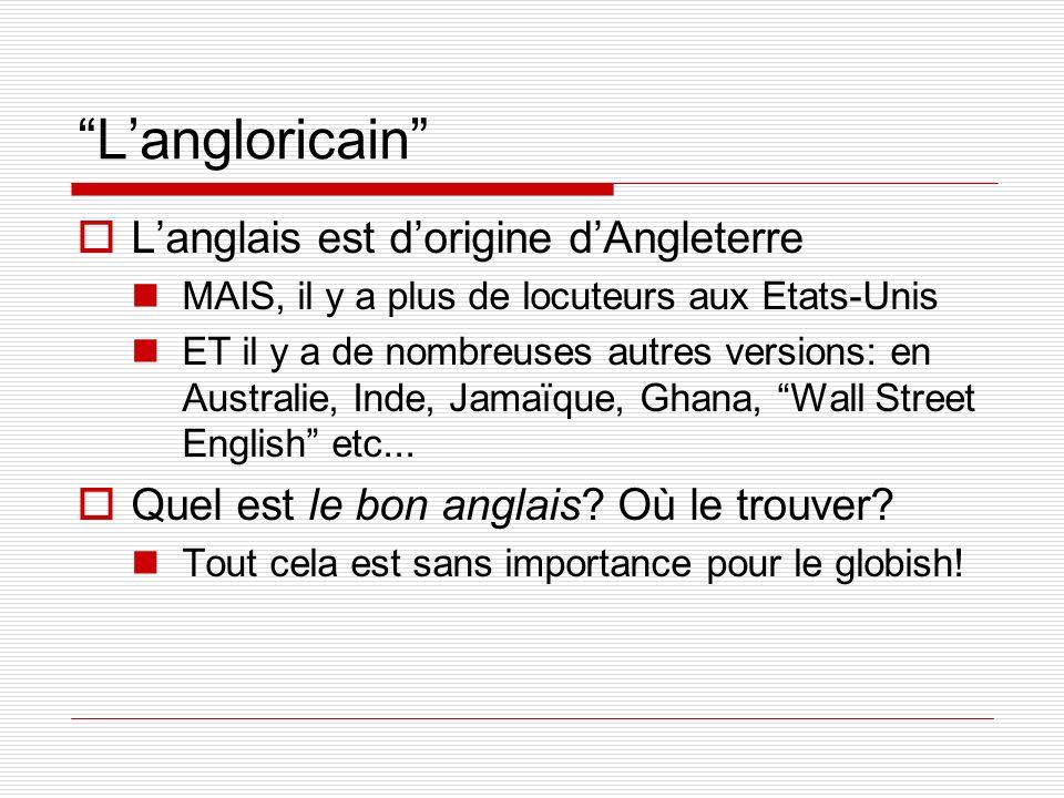 L'angloricain L'anglais est d'origine d'Angleterre