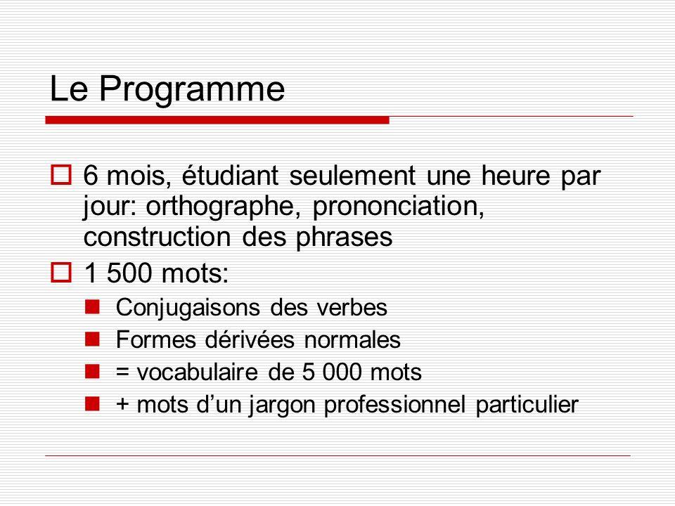 Le Programme 6 mois, étudiant seulement une heure par jour: orthographe, prononciation, construction des phrases.
