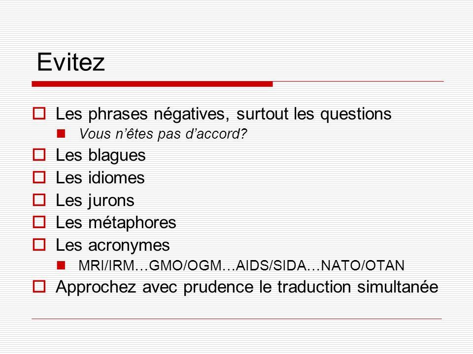 Evitez Les phrases négatives, surtout les questions Les blagues