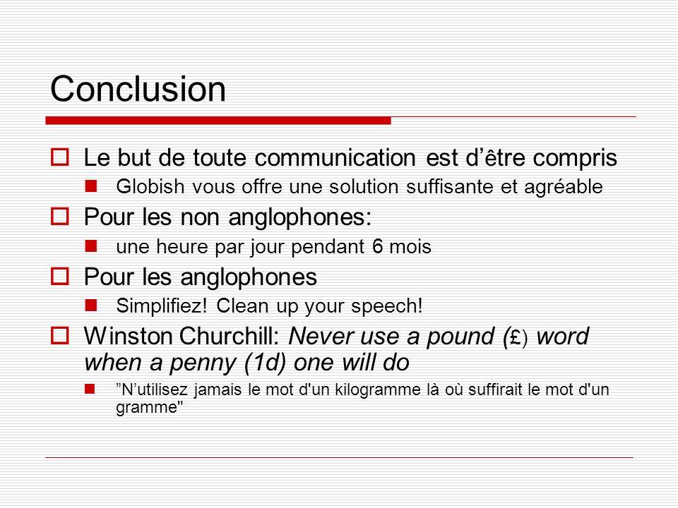 Conclusion Le but de toute communication est d'être compris